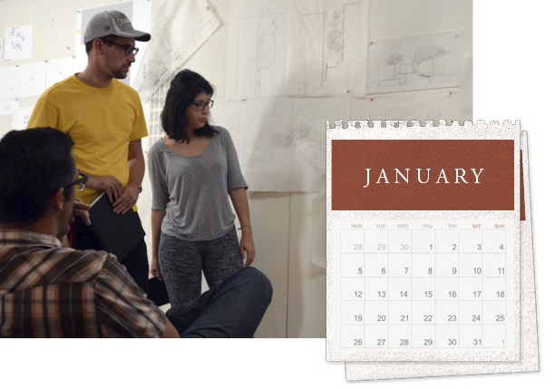 Project reviews in Red Barn overlain with a graphic calendar that reads January