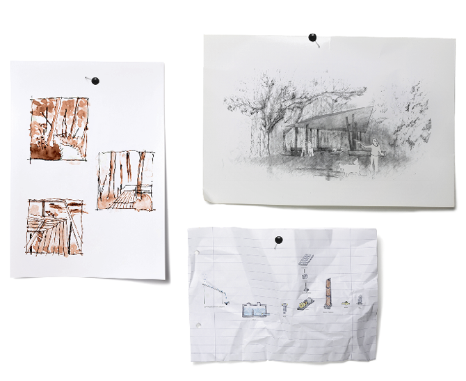 Three hand-drawn project sketches