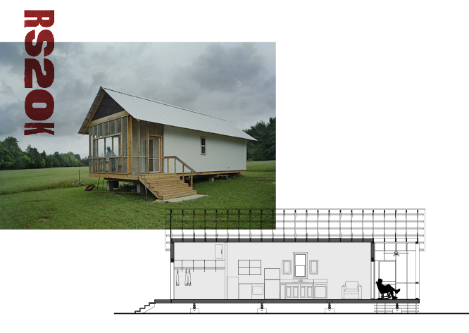 An exterior shot of 20K Dave's home partially overlain by two other images: RS20K in bold rust-colored text and a section drawing of 20K Dave's Home