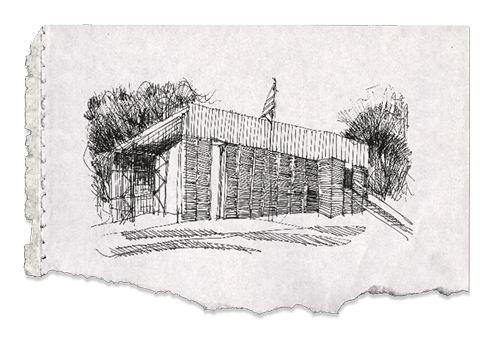 A sketch of the Newbern Firehouse on notebook paper