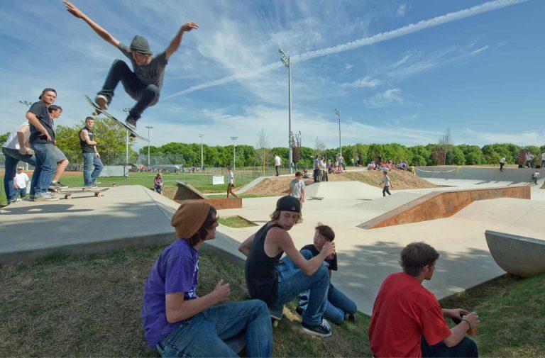 Skater on ramp at Lion's Park skatepark