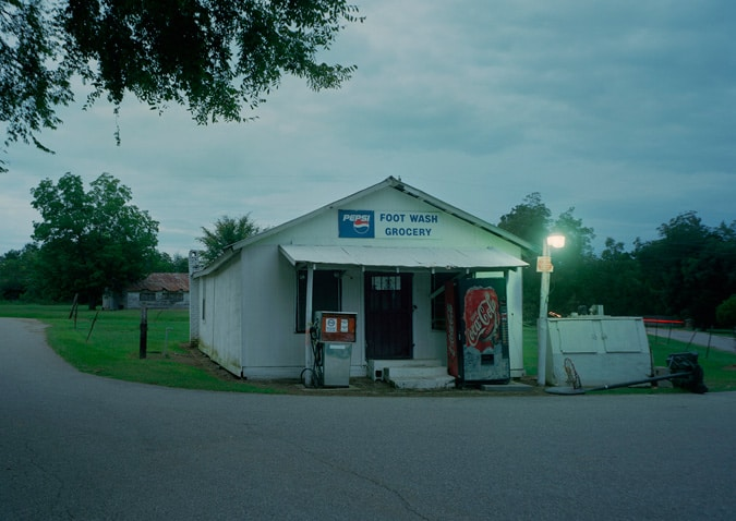 Image of the Footwash Grocery at sunset