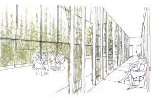 Drawing of the Horseshoe Hub Courtyard