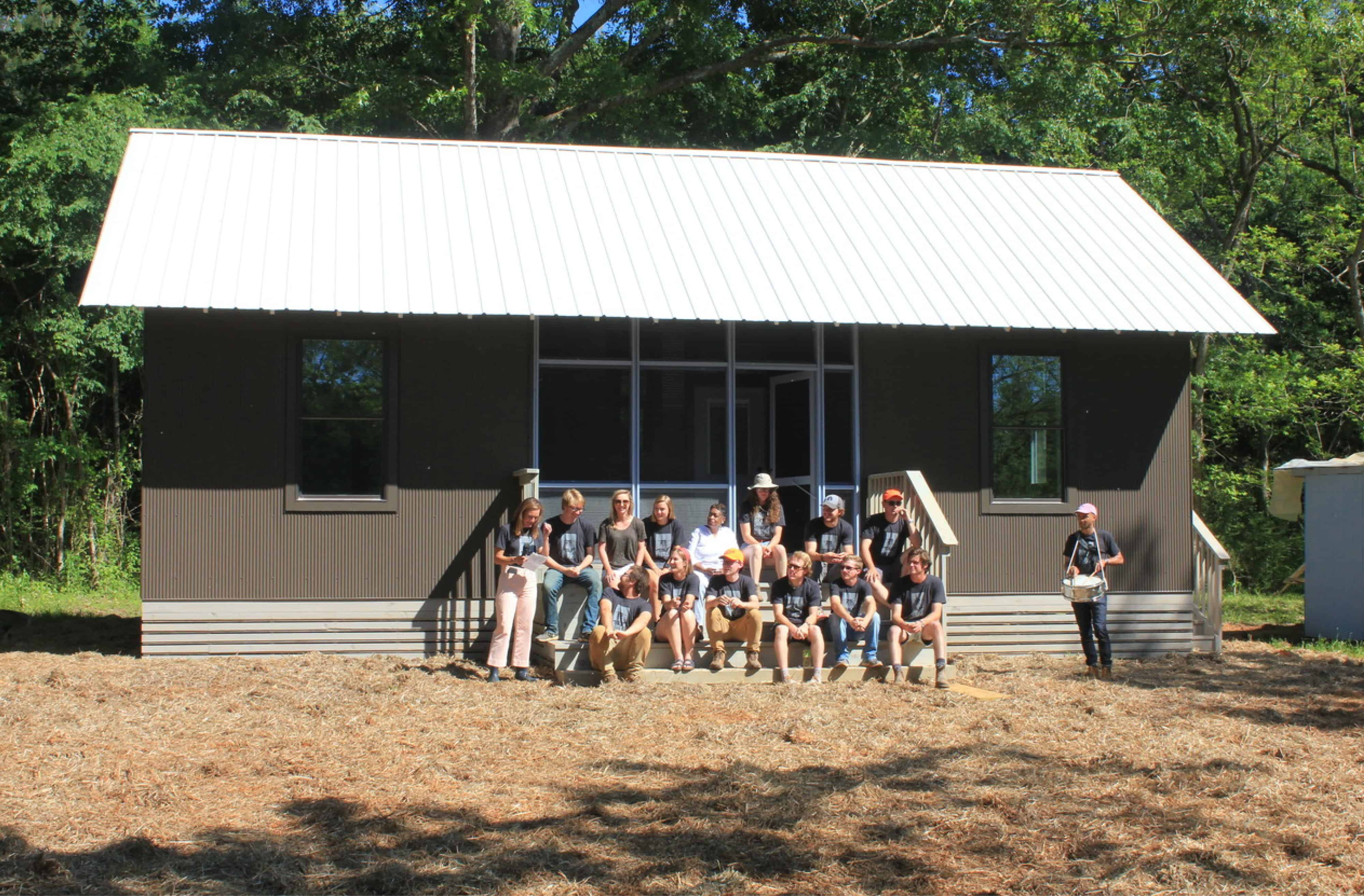 Students in front of Mrs. Patrick's House