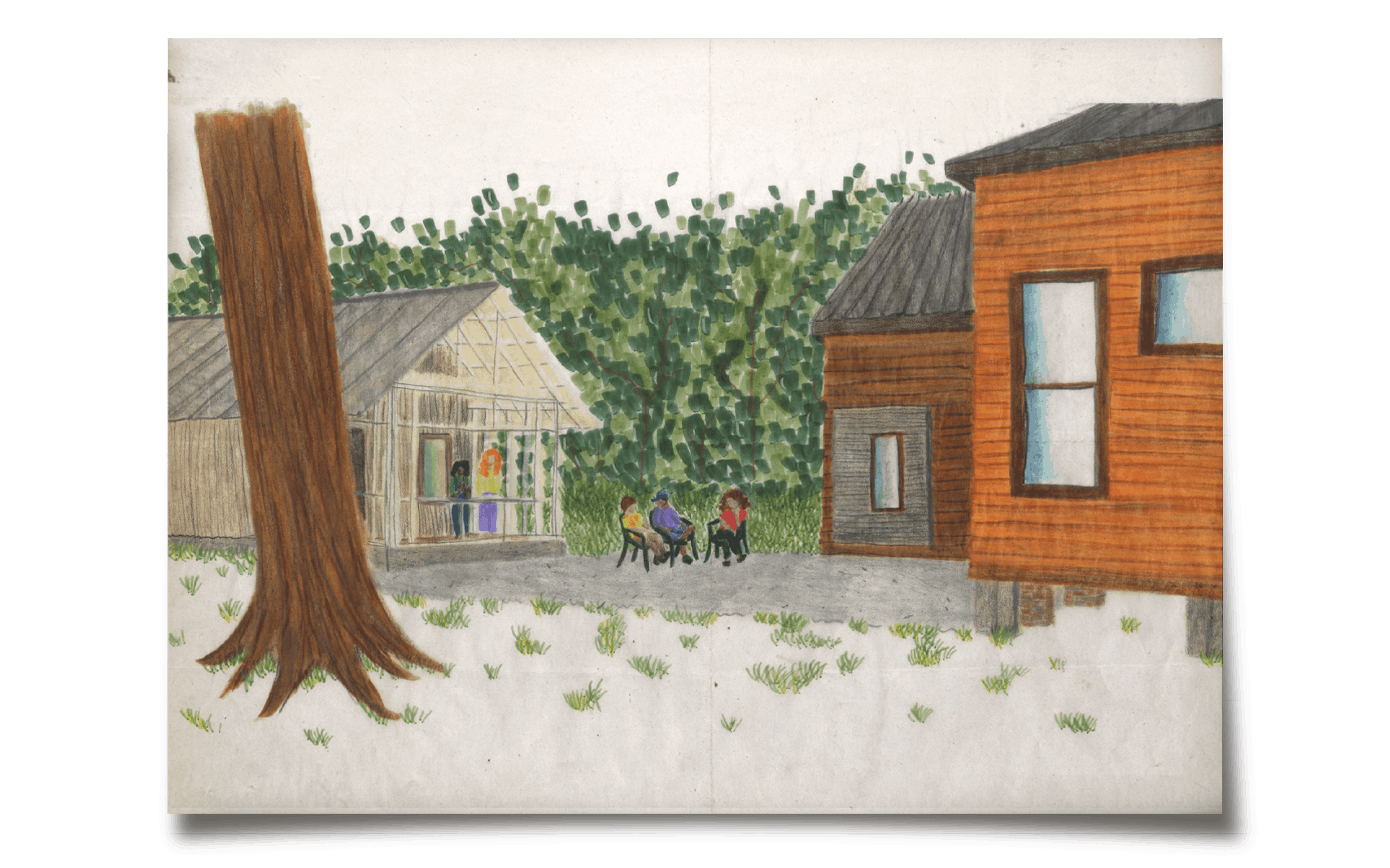sketch of students outside home