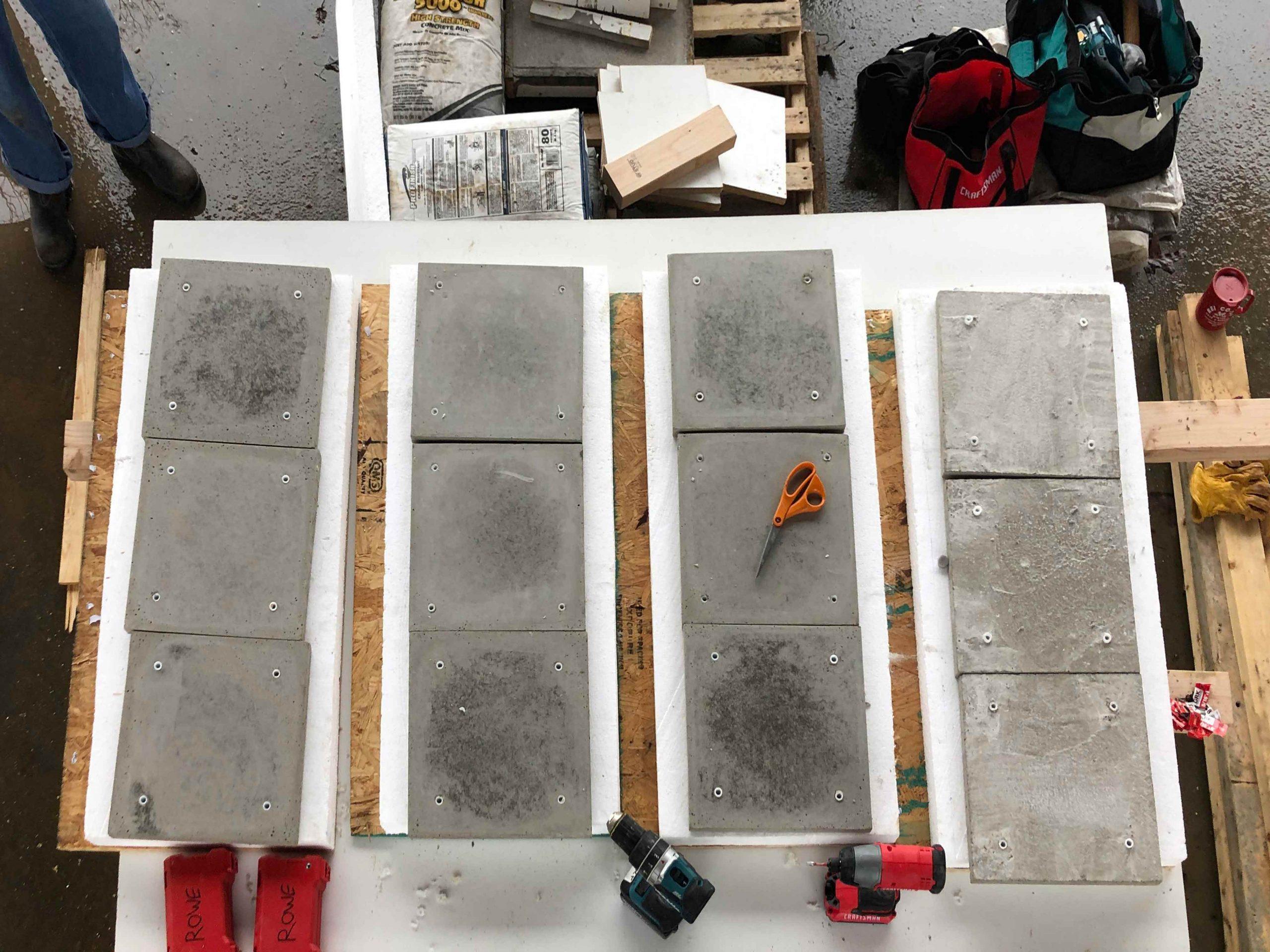12 1' x 1' concrete panels